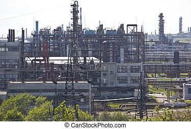 industry., planta, petrochemical, armazenamento, tanks., óleo