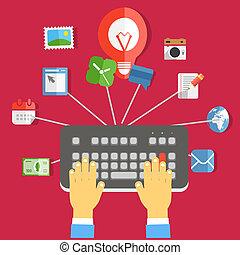 industry., pojęcie, płaski, media, projektować, cyfrowy