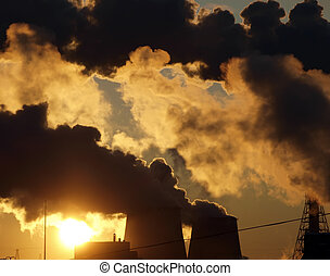 Industry pollution in the city. Sunrise time