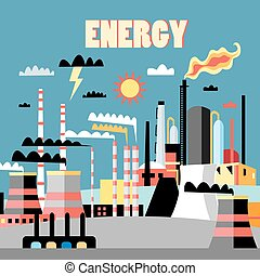Industry power background - Industry background with...