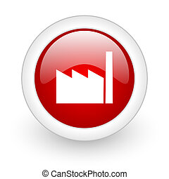 industry red circle glossy web icon on white background