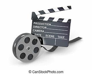 industry., reel., clapperboard, film, film