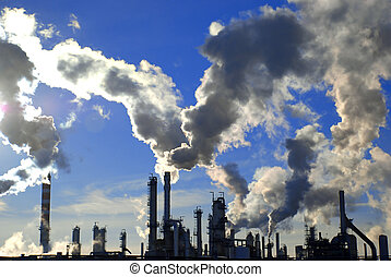 industry site - industrial site with smoking pipes, global...