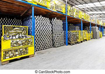 Industry storehouse - Interior of big storehouse in metal...