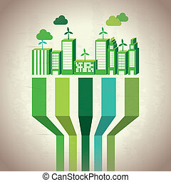 Industry sustainable development over beige background....