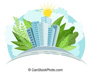 Industry sustainable development with environmental conservation background. Green city. Vector illustration
