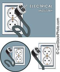 industry., symbole, ensemble, électrique