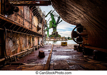 Industry view - On the dry dock in shipyard Gdansk, Poland.