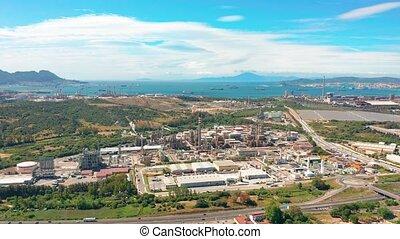 industry., vue., huile, aérien, raffinerie