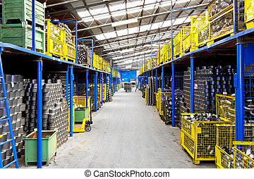 Industry warehouse - Interior of big warehouse in metal...