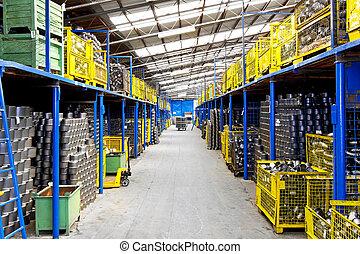 Industry warehouse - Interior of big warehouse in metal...