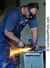 industry worker sparks - industry worker cut steel with...