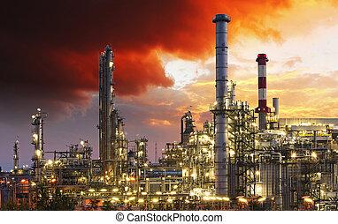 indutry, raffinaderi, olja, -, fabrik