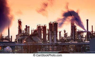 indutry, raffinerie, huile, -, usine