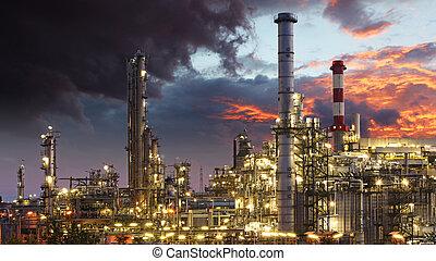 indutry, refinería, aceite, -, fábrica