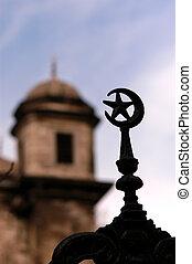 indyk, fantastyczny, islamski, meczet, symbol, rosnący