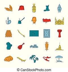 indyk, komplet, styl, ikony, doodle