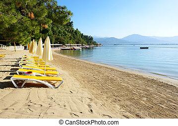 indyk, plażowe uciekanie się, fethiye, turecki