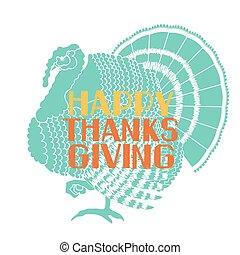 indyk, tytuł, sylwetka, thanksgiving ozdoba, ptak, karta, szczęśliwy