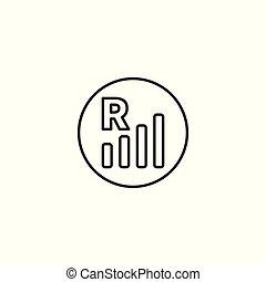 indykator, ruchomy, białe tło, wędrujący, kreska, ikona