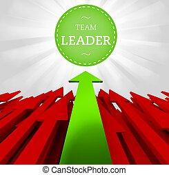 indywidualność, concept., lider, drużyna