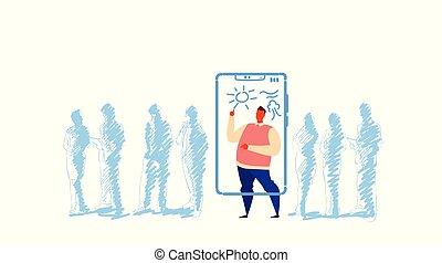 indywidualność, pojęcie, tłum, ludzie, app, rys, smartphone, poza, reputacja, słońce, litera, sylwetka, pełny, ekran, używając, poziomy, człowiek, artysta, ruchomy, długość, doodle, rysunek