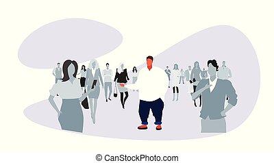 indywidualność, pojęcie, tłum, ludzie, na, rys, poza, reputacja, różny, doodle, litera, sylwetka, rozmiar, nalany, pełny, tłuszcz, poziomy, rysunek, człowiek, długość, facet, samiec