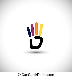 ine hand symbol for number 4 vector logo icon - line hand...