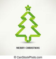 ineengevouwen , papier, groene, kerstboom