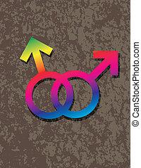 ineinandergreifen, gay, geschlecht, abbildung, symbole, mann