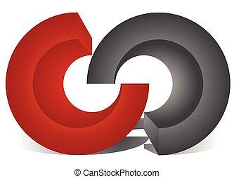 ineinandergreifen, kreise, blockieren ringe, als, abstrakt,...
