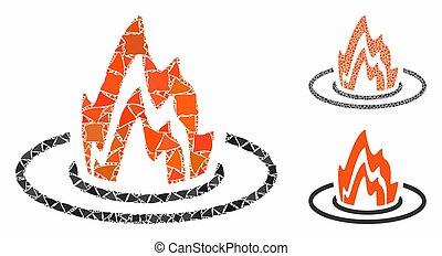 inequal, mosaïque, parties, emplacement, icône, brûler