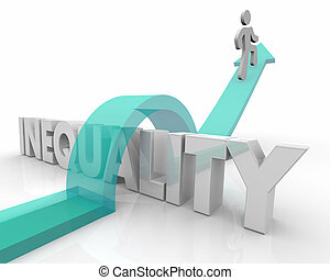 Inequality Arrow Person Jumping Over Word Fairness 3d Render Illustration