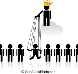Inequality - Concept with marionette talking about the...