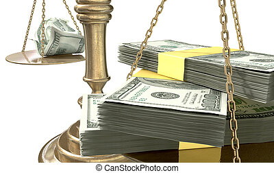 An old school bronze justice scale with stacks of us dollar money on one side and a few crumpled notes on the other representing the inequality in the income gap an isolated white background