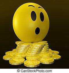 inesperado, coins, smiley, ganancias, sorprendido, exposiciones