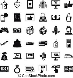 Inet purchase icons set, simple style - Inet purchase icons...
