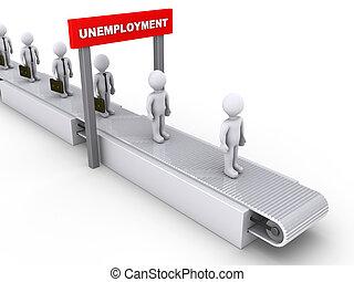 Inevitable unemployment - 3d businessmen on conveyor pass...