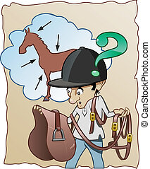 Funny cartoon illustration - An inexperienced horse-rider doesn't know how to prepare his horse for riding
