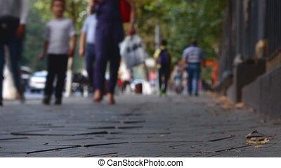 inférieur, foule, fond, gens, voitures, défaillance, part., rue, temps, vue.