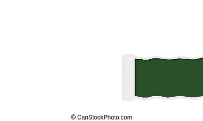 inférieur, troisième, déchiré, papier, vert, gabarit