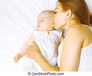 infancia, cama, maternidad, armonía, mamá, bebé, co, sueño