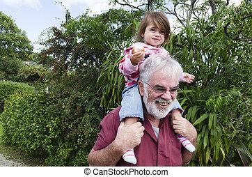 infancia, -, granddad, e, neto, relacionamento