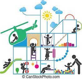 infancia, ilustração, pictograma