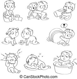 Infant - A baby sitting on the pot, drinks milk from a...