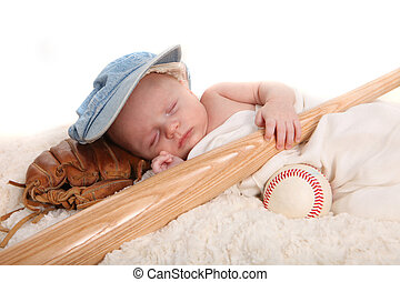 Infant Boy Holding Baseball Bat and Sleeping on a Glove -...