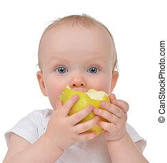 Infant child baby girl eating apple closeup