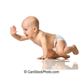 Infant child boy toddler sitting in diaper crawl happy smiling isolated