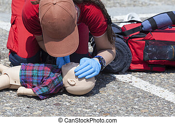 Infant dummy first aid - Cardiopulmonary resuscitation (CPR)