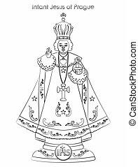 Infant Jesus of Prague. Saint of Cristian church. vector or fully editable illustration.